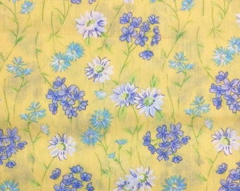 Blue flowers light weight see through fabric yellow background 4 yards