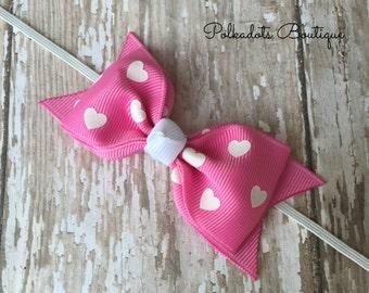 Valentine Headband Tuxedo Bow Skinny Elastic Headband Valentine Baby Bow Pink Heart Headband Valentine Baby Headband Baby Bow