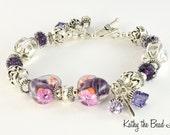 Lampwork Bracelet - Heart Lampwork Karen Hill Tribe Silver Bead Bracelet - KTBL
