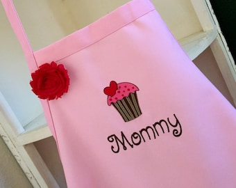 Strawberry  Cupcake- Personalized Teen & Women's Apron-Embroidered- Mother's Day gift--2 sizes available