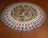 Crocheted, Easter Doily, Tulips, Rabbits, Easter Eggs, 18 Inch Doilies, Handmade, Blue Trim, Easter Centerpiece, Table Topper