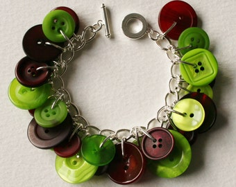 Button Bracelet Dark Red and Lime