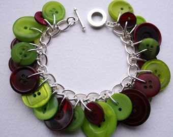 Button Bracelet Lime Green and Dark Burgundy Red