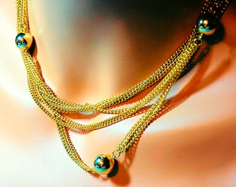 Vintage Ladies long Necklace, 52 inch with Golden Ball Stations, Flapper Length