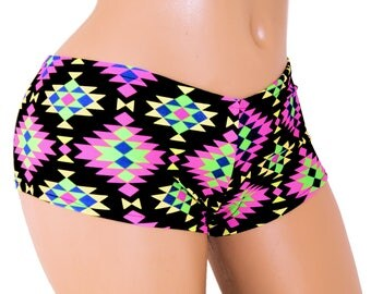 Neon Abstract Diamond Print Boy Booty Shorts Adult All Sizes- MTCoffinz (Choose Hi Rise or Lo Rise)