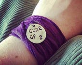 Cure CF Cystic Fibrosis Awareness Hand Stamped Silk Wrap Bracelet