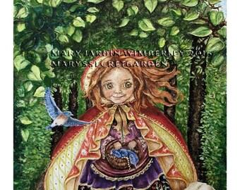 ON SALE Fine Art Print, Watercolor Painting, Mary Wimberley, Red Riding Hood, Storybook Art, Book Illustration, Marys Secret Garden, Fairyta