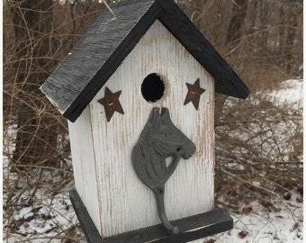Snow Storm Sale Primitive Birdhouse Metal Horse Head Hook Stars Unique OOAK