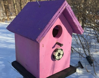 Primitive Birdhouse Pink Purple with Soccer Ball