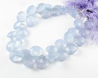 Lavender Purple Chalcedony Faceted Heart Flat Teardrop Gemstone Briolette Drops 10mm - 11mm (6 gems beads)