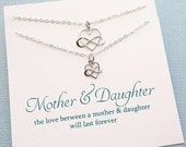 SALE - Mother Daughter Jewelry | Mother Daughter Necklace Set | Infinity Heart Necklace | Necklace Set | Gift for Mom | Sterling Silver | MD