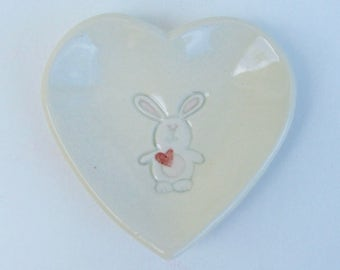 "Valentine,Ceramic Heart Plate, Bunny 3 3/8"", Hand Built Handpainted"