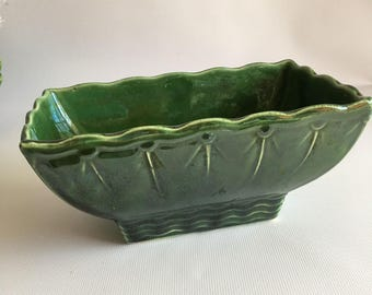 McCoy Green Planter Mid Century Forest Green Scalloped Edge  Succulent Planter Large Rectangle