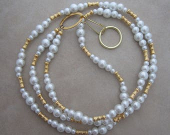 white lanyard pearl gold badge ID holder