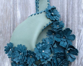 Leather Wristlet in Jade Green Leather with Teal Blue Flowers - Small Handbag - Wedding - Romantic Gift - Evening Bag - Bouquet, Stacy Leigh