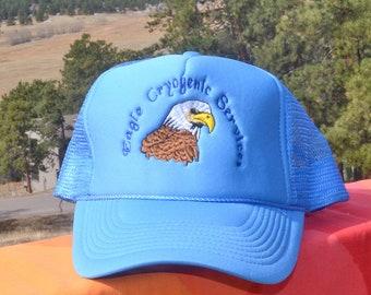 80s vintage trucker mesh hat EAGLE CRYOGENIC service snapback light blue baseball cap wtf