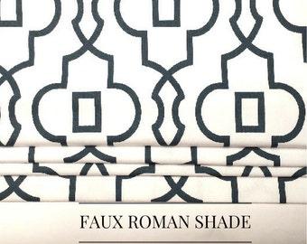 Faux False Roman Shade - Fake Roman Shade -  Bordeaux Gunmetal Twill - Gray - White -  Stationary Valance - Mock Roman - Choose Size
