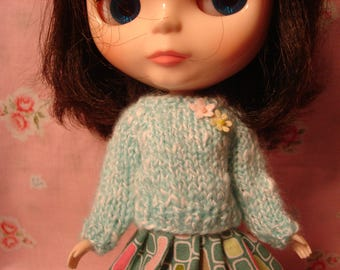 Blythe Cotton Blend Aqua Sweater for Pullip and Vintage Skipper Too!