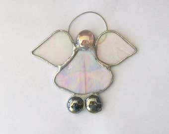 Baby angel ornament pink and white stained glass ornament or suncatcher