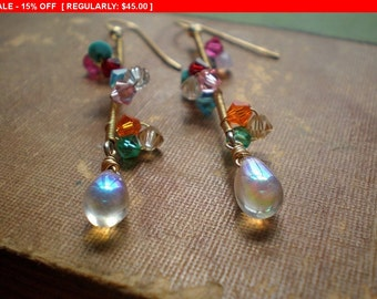 Crystal Cluster Earrings - Swarovski Crystal Vine - Vine Earrings - Multi Color Crystal Earrings - Long Earrings - Gold Wire Wrapped - Gift