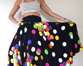 NEW YEAR SALE / 20% off Vintage 80s 90s does 50s High Waisted Rainbow Polka Dot Full Circle Skirt (size medium, large)