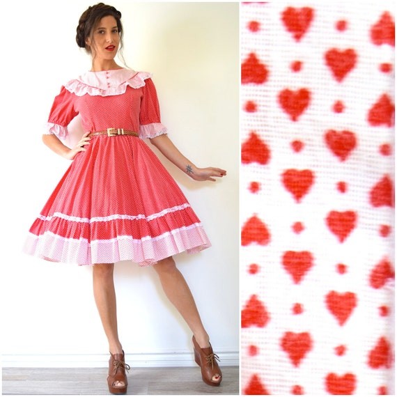 Vintage 60s 70s Hearts and Polka Dots Red and White Full Circle Square Dancing Dress (size medium)