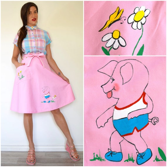 SPRING SALE/ 20% off Vintage 60s 70s Bubblegum Pink Hand Painted Little Piggy Daisies and Butterflies Wrap Around A Line Skirt (size xs, sma