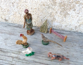 Vintage 1930s/30s French  farm toys character & animals set of 6