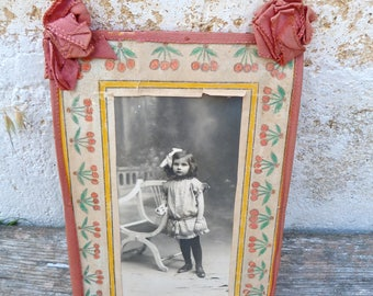 Vintage Antique Victorian 1900 old French ribbon & original drawing figures cherries photo frame