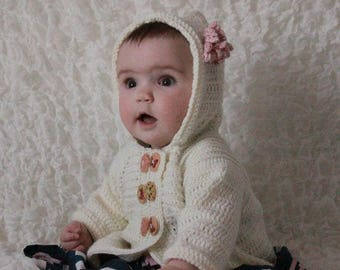 CROCHET PATTERN For Buttons Hooded Baby Jacket in 3 Sizes 0-9 months PDF 282 Digital Download