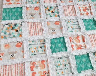 Fox Baby Quilt - Woodland Quilt - Gender Neutral Quilt - Baby Boy Quilt - Arrow Quilt - Woodland Bedding - Squirrel Quilt - Fox Baby Gift