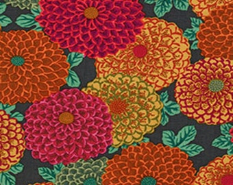 1 YARD - Phillip Jacobs for Kaffe Fassett Fabric, Joy in Brown, Cotton, Floral - Clearance Fabric