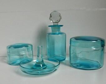 Vintage Blue Glass Vanity Set. 4 Piece Blue Glass Perfume Bottles, pots and ring holder. French Boudoir Decor
