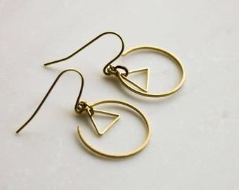Gold Triangle Earrings, Gold circle earrings, geometric earrings, tribal earrings, minimalist earrings, gift for her