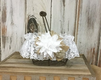 Flower Girls Basket, Chicken Wire Basket-Burlap and Lace Flowers-Rustic Wedding-Shabby Chic Wedding Decor
