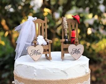 Fireman Cake Topper, Wedding-Rocking Chairs-Bride-Groom-