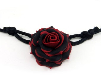 Rose Collar Necklace - Gothic Choker, More Colors Available