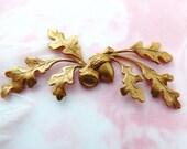 BRASS Woodland Oak Leaf Spray Acorn Stamping~ Jewelry Findings (C-1305)