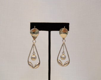 Vintage 1950s 50s Sterling Silver Teardrop Earrings Ball Earrings Handmade Earrings Ethnic Earrings 50s Jewelry 50s Accessories 50s Fashion