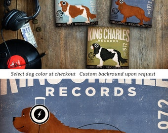 Cavalier King Charles dog Records vintage style dog album artwork illustration on gallery wrapped canvas by Stephen Fowler