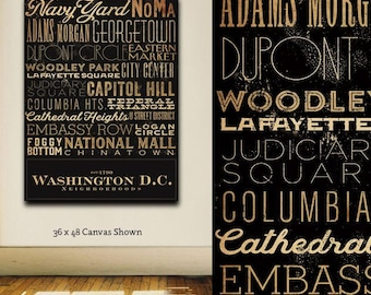 Washington D.C. city neighborhoods typography graphic art on canvas by stephen fowler