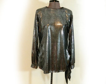 Shiny, Silver, Diva, Blouse, Vintage, 80s, Disco, Glam, Semi-Sheer, Shoulder Pads, Awesome, Blouse, Rocker, Silky, Fabric, Unique & Fun!