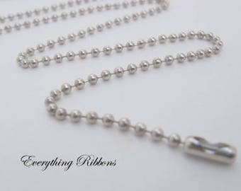 25 Nickel Plated Ball Chain Necklaces - 24 inch - 2.4mm - Perfect for Cover Button, Scrabble, Glass Tile, Domino, Bottle Caps - SEE COUPON