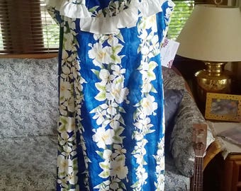 Royal Creations Hawaiian Dress, Ruffled Neckline, No Sleeve, Full Length, EUC, hard to find plus, sz 40 Bust, 36 waist,  12 14