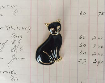 Vintage Black Cat Brooch with Rhinestone Eyes and Gold Accents