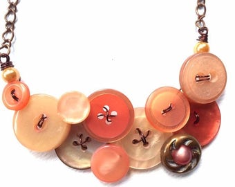 Spring Sale Button Necklace Rustic Peach Shimmer Buttons with Copper