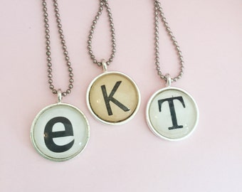 Personalized Initial Necklace Made from a Vintage Dictionary, You Choose the Letter, Keepsake Necklace for New Mother or Grandmother