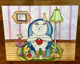 """Folk Art """"Knitting is My Therapy"""" Note Cards"""