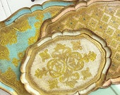 Three's Company... Vintage Italian Florentine Gold Gilded Nesting Trays Hollywood Regency Glam Golden Era Mid Century Modern