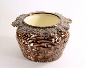 African Violet Pot Basket Weave Large Brown Made to Order